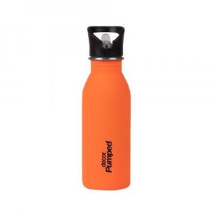 Μεταλλικό ανοξείδωτο μπουκάλι Πορτοκαλί Décor 500ml / Με εσωτερικό καλαμάκι & 'soft touch' υφή