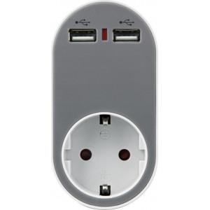 ΑΝΤΑΠΤΟΡΑΣ ΑΣΦΑΛΕΙΑΣ ΣΕ ΣΟΥΚΟ ΚΑΙ 2 USB 5V 2.4A 250V 3680W ΓΚΡΙ