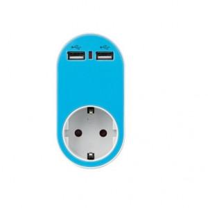 ΑΝΤΑΠΤΟΡΑΣ ΑΣΦΑΛΕΙΑΣ ΣΕ ΣΟΥΚΟ ΚΑΙ 2 USB 5V 2.4A 250V 3680W ΜΠΛΕ