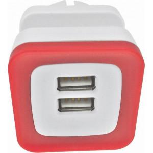 ΑΝΤΑΠΤΟΡΑΣ ΑΠΟ ΣΟΥΚΟ ΣΕ 2 USB 5V DC 2,4A ΚΟΚΚΙΝΟ