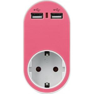 ΑΝΤΑΠΤΟΡΑΣ ΑΣΦΑΛΕΙΑΣ ΣΕ ΣΟΥΚΟ ΚΑΙ 2 USB 5V 2.4A 250V 3680W ΡΟΖ