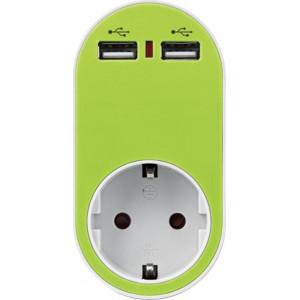 ΑΝΤΑΠΤΟΡΑΣ ΑΣΦΑΛΕΙΑΣ ΣΕ ΣΟΥΚΟ ΚΑΙ 2 USB 5V 2.4A 250V 3680W ΠΡΑΣΙΝΟ
