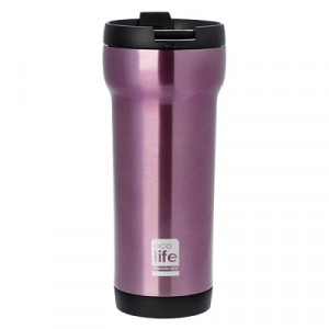 ECOLIFE ΜΕΤΑΛΛΙΚΟΣ COFFE THERMOS 420ML PINK 33-BO-4005