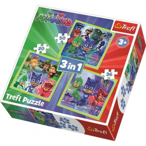 TREFL PUZZLE 20/36/50 Pcs 3 in 1 PJ MASKS READY TO ACTION 817-34840