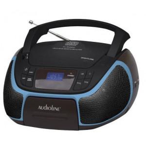BOOMBOX CD MP3 USB ΦΩΤ ΟΘΟΝΗ AUDIOLINE CD-96 ΜΑΥΡΟ ΜΠΛΕ 07.307