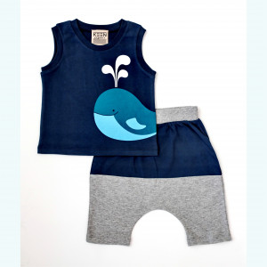 "Keen Organic: Σετ t-shirt και shorts ""Whale"" 807-B-WHALE-S-6-9Μ"