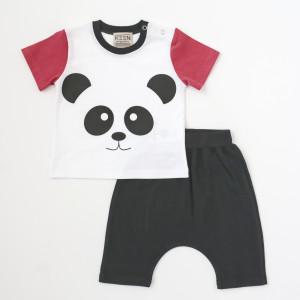 """Keen Organic: Σετ t-shirt και shorts """"Panda"""" 808-B-PANDA-S-6-9Μ"""
