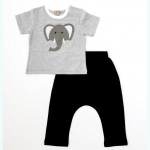 "Keen Organic: Σετ t-shirt και βερμούδα ""Elephant"" 809-B-ELEPHANT-S-6-9Μ"