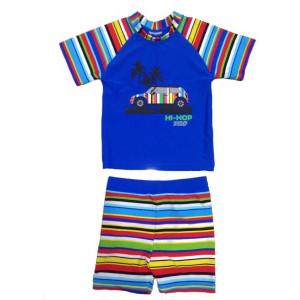 Jakabel Σετ μπλούζα-σορτς με προστασία UVP50+ Blue Multi Stripe AG3002