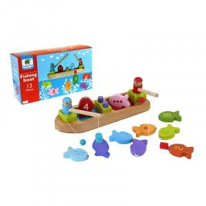 Barbo Toys Ξύλινη βάρκα ψαρέματος με μαγνητάκια BT5970