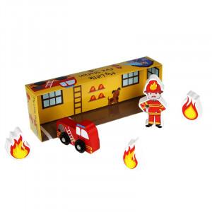 "Barbo Toys Ξύλινο παιχνίδι ""Ο μικρός μου σταθμός πυροσβεστικής"" BT6404"