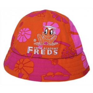 Καπέλο πορτοκαλί UV προστασία με ροζ μαργαρίτες και φαρδύ γείσο F700xx