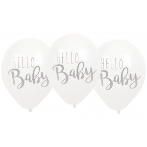 "Jabadabado: Μπαλόνια ""Hello Baby"" Άσπρα JB-B2008"