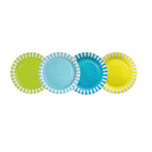 Jabadabado: Χάρτινα πιάτα Μπλέ-Πράσινο-Κίτρινο JB-Z17117