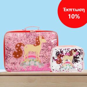 ΕΚΠΤΩΣΗ 10% A little lovely company Βαλιτσάκι Glitter - horse + Νεσεσέρ Glitter - horse SCHOGL12+STTBHO04