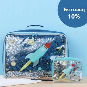 ΕΚΠΤΩΣΗ 10% A little lovely company Βαλιτσάκι Glitter - space + Νεσεσέρ Glitter - space SCSPGL14+STTBSP06