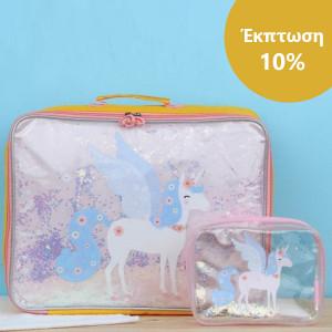 ΕΚΠΤΩΣΗ 10% A little lovely company Βαλιτσάκι Glitter - unicorn + Νεσεσέρ Glitter - unicorn SCUNGL13+STTBUN05