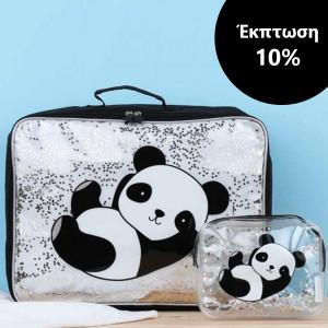 ΕΚΠΤΩΣΗ 10% A little lovely company Βαλιτσάκι Glitter - panda + Νεσεσέρ Glitter - panda STTBPA07+SCPAGL15