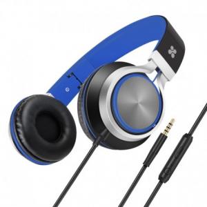 Promate Spectrum Ενσύρματα Αναδιπλούμενα Ακουστικά Κεφαλής Ανοικτού Τύπου με Ενσωματωμένο Μικρόφωνο - Μπλε