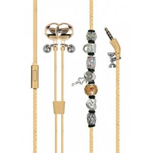 Promate Vogue-2 Μοδάτα Στερεοφωνικά Ακουστικά Ψείρες –Βραχιόλι με Χάντρες με Ενσωματωμένο Μικρόφωνο – Χρυσά
