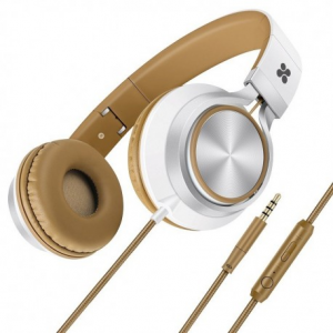 Promate Spectrum Ενσύρματα Αναδιπλούμενα Ακουστικά Κεφαλής Ανοικτού Τύπου με Ενσωματωμένο Μικρόφωνο - Καφέ
