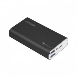Promate PowerPeak-10 Powerbank Αλουμινίου 10000mAh Με Θύρες Φόρτιση Qualcomm QC 3.0 Και USB Τύπου C - Μαύρο