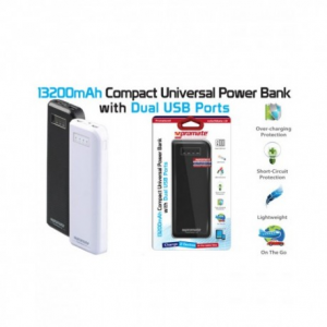 Promate ReliefMate-13 White - Powerbank 13200mAh με 2 θύρες USB και  φακό led