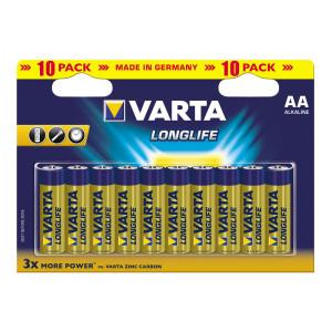 VARTA 4106 συσ. 10 AΛΚΑΛΙΚΗ LONGLIFE AA 4106101461