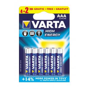 VARTA 4903 συσκ.6 AΛΚΑΛΙΚΗ HIGH ENERGY AAA (4+2) 4903121436