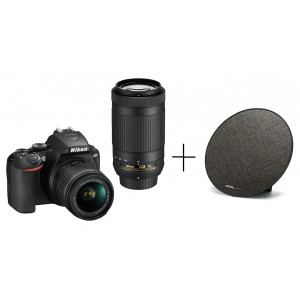 NIKON D3500 DOUBLE SPECIAL KIT AF-P 18-55VR & AF-P70-300 VR + SanDisk SDSDUNR-032G-GN6IN Ultra 32GB 90MB/s, Class 10 UHS-I + CRYSTAL AUDIO SONAR XL BLACK 11W BS-07-K