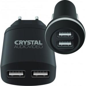 CRYSTAL AUDIO CP2-2.4 Chargers kit - 5V / 2.4A USB Car + 5V / 2A USB Wall CP2-2.4