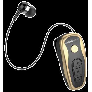 CRYSTAL AUDIO R1-KG BLACK/GOLD BLUETOOTH RETRACTABLE EARPHONES R1-KG