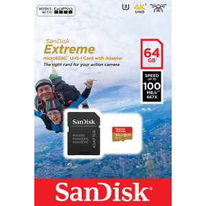 Sandisk Extreme MicroSD 64GB Action Cam 100MB/s SDSQXAF-064G-GN6AA