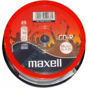 MAXELL CD-R 80min 16x 25 Cake box Audio music xl-ii