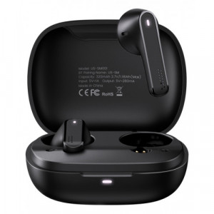 USAMS earbuds US-SM001 με θήκη φόρτισης, True Wireless, Μαύρα BHUSM02