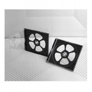 Πλαστική θήκη κανονική για 4 CD/DVD σε διάφανο/μαύρο χρώμα *BOX0048
