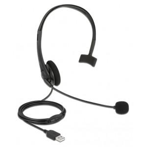 DELOCK headphones με μικρόφωνο 27177, mono, USB, volume control, μαύρα 27177