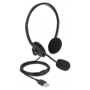 DELOCK headphones με μικρόφωνο 27178, stereo, USB, volume control, μαύρα 27178