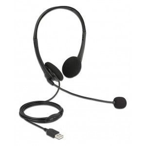 DELOCK headphones με μικρόφωνο 27179, stereo, USB, volume control, μαύρα 27179