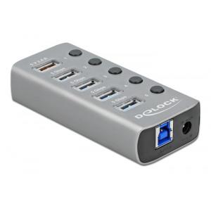 DELOCK hub 5x USB με διακόπτες 63262, USB 3.2, Gen 1, 5Gbps, 2.4A, γκρι 63262