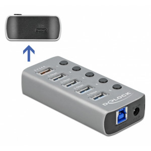 DELOCK hub 5x USB + 1x Type-C PD με διακόπτες 63263, 5Gbps, 2.4A, γκρι 63263