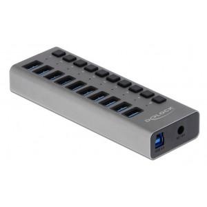 DELOCK hub 10x USB με διακόπτες 63976, USB 3.0, 5Gbps, 4A, LED, γκρι 63976