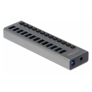 DELOCK hub 13x USB με διακόπτες 63977, USB 3.0, 5Gbps, 5A, LED, γκρι 63977