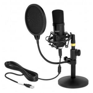 DELOCK μικρόφωνο studio με pop φίλτρο & αντιανέμιο 66300, πυκνωτικό, USB 66300