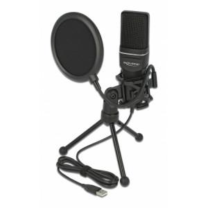 DELOCK Mικρόφωνο studio με pop φίλτρο & αντιανέμιο 66331, πυκνωτικό, USB 66331