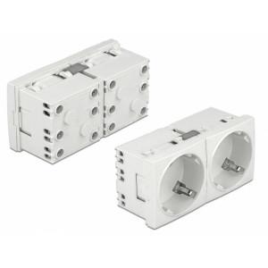 DELOCK διπλό module πρίζας ρεύματος Easy 45 81325, 45°, 45x45mm, 5τμχ 81325