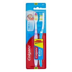 COLGATE οδοντόβουρτσα Extra Clean με καπάκι, medium, 2τμχ 8714789162607