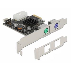 DELOCK κάρτα επέκτασης PCIe σε 2x PS/2 90049 low profile, USB pin header 90049
