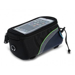 ROSWHEEL Τσάντα ποδηλάτου με θήκη τηλεφώνου, αδιάβροχη, Black/Green ACC-025