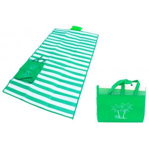 Ψάθα-τσάντα παραλίας AG366 με μαξιλάρι, αδιάβροχη, 175 x 90 cm, πράσινο AG366A